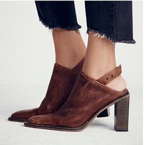 FREE PEOPLE BROWN SILVER STORM MULE SOLD OUT NWOB